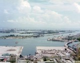 1975 - Old Port of Miami in foreground, Government Cut, Watson and Dodge Islands