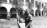 1940 - Jeanne High and Dot McEwen in front of the Hialeah School (Elementary and Junior High School)