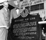 1953 - Adam G. Adams and J. Douglas MacVicar dedicate the Pan Am historical marker at Miami