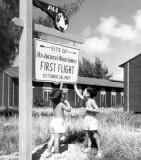 1947 - boys admiring Pan American's first flight site in Key West