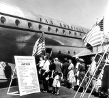 1949 - Crowds waiting to see Pan American's Boeing 377-10-26 Stratocruiser N1023V Clipper America at Miami