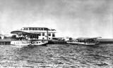 1935 - Pan American Clipper disembarking passengers and mail at Dinner Key, Florida