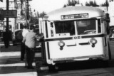 1940's - looking north at a Beach bus #404 on the mainland in Miami on N. E. 1st  Avenue