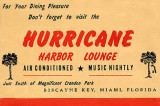 1950's - Menu cover for the Hurricane Harbor Lounge, 24 Crandon Boulevard, Key Biscayne