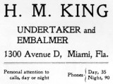 1900s - H. M. King, Undertaker and Embalmer, advertisement