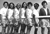 1966 - Sylvia Hitchcock (center), future Miss USA 1967 and Miss Universe 1967, with tennis team at MDJC North Campus