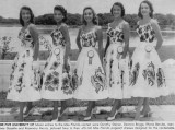 1957 - UM Miss Florida 1957 contestants Dorothy Steiner, Deanna Briggs, Rhona Berube, Adrianne Goyette and Rosemary Morris