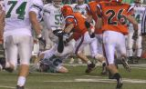 harrison player gets hit by defense