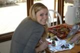 alex working on her food-art