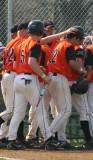 celebrating daniel's home run