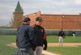 coach wardwell having a word with the umpire