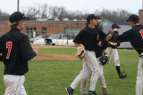outfielders head to the dugout