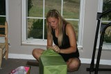 alex opening her gifts