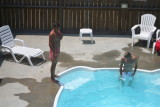 greg and adam in the pool