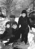 Richard (middle) at age three, playing with two kids in front of his apartment house at  410 Westminster Road in Brooklyn (1945)