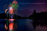 Happy 4th! Fireworks Reflected in Lake Siskiyou, Mount Shasta California