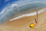 Beach Scene Through  Fisheye  Lens