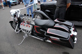 Motorcycle w/ flathead V8 and 3 deuces!