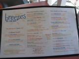 menu at Breezes