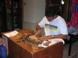 guy making homemade cigars