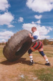 Flipping a 400kg tyre