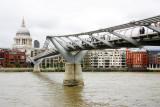 Millennium bridge with St. Paul's Cathedral, London