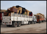 Trucks in the morning waiting for the Iraqi border to open