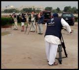 Swedish birdwatchers filmed by Kuwait TV