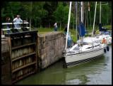 Sailboats passing through Gota Canal