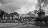 Thangboche monastery, black and white