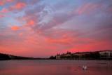 Fiery sunset Lake Peblinge