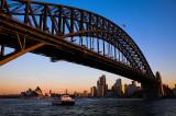 Sydney Harbour Bridge & Opera House as the sun sets