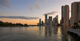 Brisbane - sunset view of Eagle Street Pier and highrises