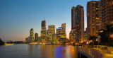 Brisbane Eagle Street Pier and highrises at dusk cityscape