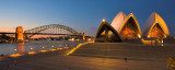 Opera House & Harbour Bridge at dusk panorama