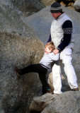 Father and Son on the Rocks at Lower Yosemite Falls