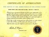 Certificate of Appreciation From President Nixon