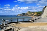 Cliffs and railings, West Bay