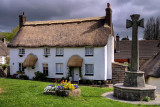 Cross and cottages, Lustleigh