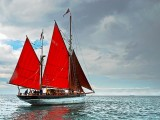 Red-sailed ketch, off Berry Head