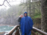 Cape Flattery Viewpoint - MJ tries to see around Cedarman