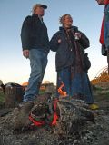 Hikers Enjoy Morning Campfire