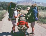 Kelty Kids Check P.A.Jeff's Load Before Leaving Weldon For Sierras