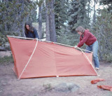 Weekend Hikers At Cliff Lake Oregon Set Up Their New Tent