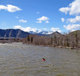 Lone  Kayaker Paddling The Wenatchee River