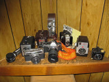 Small Group Of  Old School Cameras