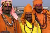 Three travelling entertainers, Pushkar camel fair, India