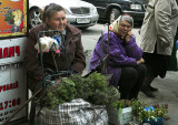 Babushkas eking out a living at a street market