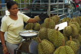 Selling durian, the notoriously odiferous tropical fruit