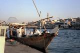 Dhow moored alongside the Creek in Dubai